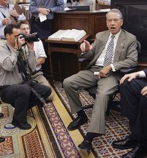 In this Sept. 26, 2007, file photo Sen. Charles Grassley, R-Iowa, talks to reporters in his Capitol Hill …